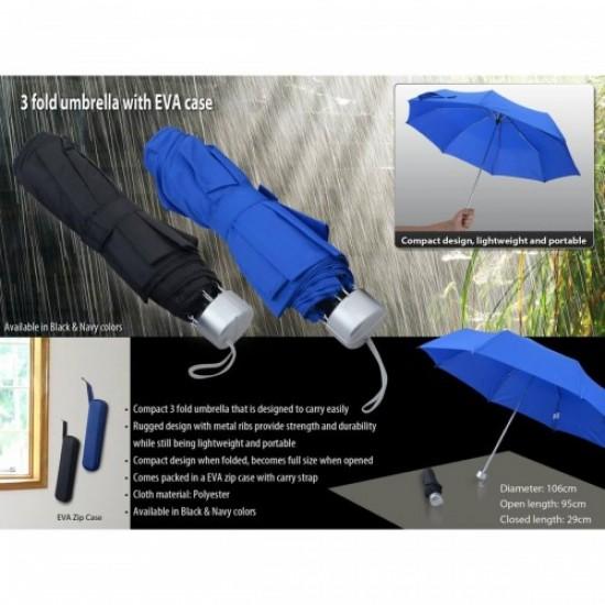 3 fold umbrella with zipper EVA case